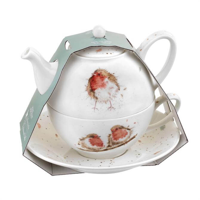 Wrendale Tea for One Robins Teapot with Saucer